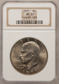 Eisenhower Dollars: , 1977 $1 MS65 NGC. NGC Census: (1742/288). PCGS Population(1160/819). Mintage: 12,596,000. Numismedia Wsl. Price forproble...