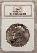 Eisenhower Dollars: , 1977 $1 MS65 NGC. NGC Census: (1742/288). PCGS Population (1160/819). Mintage: 12,596,000. Numismedia Wsl. Price for proble...