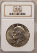 Eisenhower Dollars: , 1977 $1 MS65 NGC. NGC Census: (1742/287). PCGS Population (1158/817). Mintage: 12,596,000. Numismedia Wsl. Price for proble...