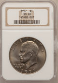 Eisenhower Dollars: , 1977 $1 MS65 NGC. NGC Census: (1742/287). PCGS Population(1116/812). Mintage: 12,596,000. Numismedia Wsl. Price forproble...