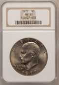 Eisenhower Dollars: , 1977 $1 MS65 NGC. NGC Census: (1741/287). PCGS Population (1097/810). Mintage: 12,596,000. Numismedia Wsl. Price for proble...