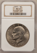 Eisenhower Dollars: , 1977 $1 MS65 NGC. NGC Census: (1741/287). PCGS Population(1097/810). Mintage: 12,596,000. Numismedia Wsl. Price forproble...