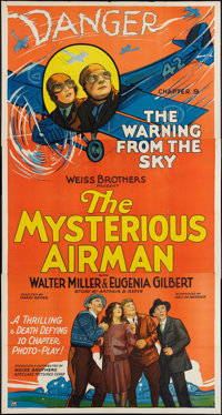 "The Mysterious Airman (Weiss Brothers Artclass Pictures, 1928). Three Sheet (41"" X 81""). Chapter 9 -- ""Th..."