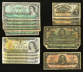 Canadian Currency: , Canadian Group Lot with Shinplasters and Small Size.. ... (Total:23 notes)
