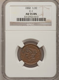 Half Cents: , 1850 1/2 C AU55 NGC. C-1. NGC Census: (12/129). PCGS Population(26/109). Mintage: 39,800. Numismedia Wsl. Price for probl...