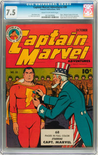 Captain Marvel Adventures #28 (Fawcett, 1943) CGC VF- 7.5 Cream to off-white pages