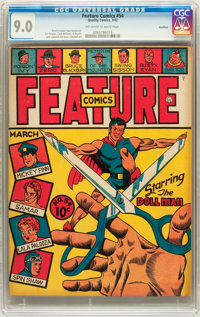 Feature Comics #54 Rockford pedigree (Quality, 1942) CGC VF/NM 9.0 Off-white to white pages