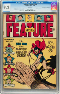Feature Comics #104 Mile High pedigree (Quality, 1946) CGC NM- 9.2 White pages