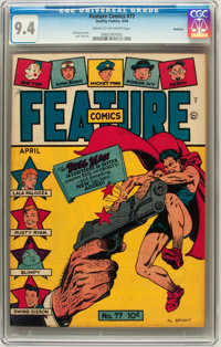 Feature Comics #77 Rockford pedigree (Quality, 1944) CGC NM 9.4 Cream to off-white pages