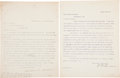 """Autographs:Celebrities, Susan B. Anthony Typed Letter Signed """"Susan B. Anthony""""...."""