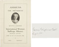 "Autographs:Celebrities, Carrie Chapman Catt Clipped Signature ""Carrie Chapman Catt/ Aug1, 1935""...."
