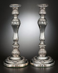 Silver Holloware, British:Holloware, A PAIR OF GEORGE III SILVER PLATED CANDLESTICKS . Matthew Boulton,Birmingham, England, circa 1815. Marks: (sun-sun). 13-1/2...(Total: 2 Items Items)