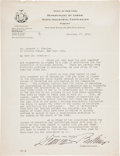 "Autographs:Celebrities, Frances Perkins Typed Letter Signed as Commissioner of the New YorkDepartment of Labor Industrial Commission ""Frances Per..."