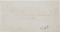 "Autographs:Celebrities, American Actress and Civil War Union Spy, Pauline Cushman ClippedSignature ""Sincerely/ Maj. Pauline Cushman""...."