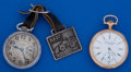 Timepieces:Pocket (post 1900), Two Pocket Watch - Illinois 15 Jewel For Benedict Brothers &Elgin With Fob 17 Jewel Runners. ... (Total: 2 Items)