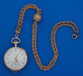 Timepieces:Pocket (post 1900), Elgin 14k Gold O Size Pocket Watch With A Gold Filled Chain. ...