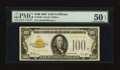 Small Size:Gold Certificates, Fr. 2405 $100 1928 Gold Certificate. PMG About Uncirculated 50 EPQ.. ...