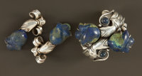 A MEXICAN SILVER AND MALACHITE CUFF AND TWO BROOCHES William Spratling, Taxco, Mexico, circa 1950-1956 Marks: