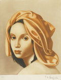 Prints:European Modern, TAMARA DE LEMPICKA (Polish, 1898-1980). Femme au turbanrouge, 1956. Hors d'Commerce colored print. 11-1/2in. x9-1/2in.... (Total: 1 Item)