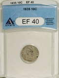 Bust Dimes: , 1835 10C XF40 ANACS. NGC Census: (8/359). PCGS Population (13/284).Mintage: 1,410,000. Numismedia Wsl. Price: $200. (#4527...