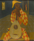 Fine Art - Painting, European:Other , L. WAGNER (Twentieth Century). Harlequin with mandolin,1952. Oil on artist board. 25in. x 20-3/4in.. Signed and dated a...