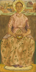 Fine Art - Painting, European:Other , EASTERN EUROPEAN SCHOOL. Portrait of a Seated Woman adorned withNimbus. Watercolor on paper. 20-3/4in. x 10-1/2in.. Mon...(Total: 1 Item)
