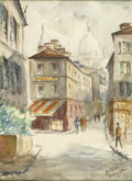 Fine Art - Painting, European:Contemporary   (1950 to present)  , ROLAND IROLLA (French, b. 1935). French Street Scene.Watercolor on paper. 24in. x 18in.. Signed at lower rightRoland... (Total: 1 Item)