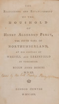 Books:Early Printing, Earl of Northumberland. Bishop Percy, editor. The Regulationsand Establishment of the Household of Henry Algernon Percy...