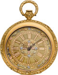 Timepieces:Pocket (pre 1900) , Aug. Gros Claude Swiss Multi-Color Dial 18k Gold Key Wind PocketWatch. ...