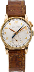 Timepieces:Wristwatch, Longines Gold Filled One Button Instant Reset Center Seconds WithCenter Minute Counter Wristwatch. ...