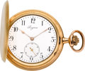 Timepieces:Pocket (post 1900), Longines 18k Gold 54 mm Hunter's Case Pocket Watch. ...