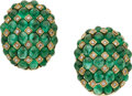 Estate Jewelry:Earrings, Emerald, Diamond, Gold Earrings, Giovane. ...