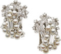 Estate Jewelry:Earrings, Cultured Pearl, Diamond, Platinum Earrings, Tobias. ...