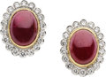 Estate Jewelry:Earrings, Ruby, Diamond, Platinum, Gold Earrings. ...