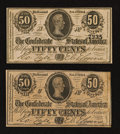 Confederate Notes:1864 Issues, T72 50 Cents 1864. Two Examples.. ... (Total: 2 notes)