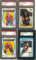 Hockey Cards:Lots, 1971-1985 Hockey HoFers Graded Rookie Cards Quartet (4). ...