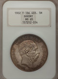 German States:Saxony, German States: Saxony. Two death Commemoratives 1902 1904, ... (Total: 2 coins)