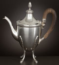 Silver Holloware, Continental:Holloware, AN ITALIAN SILVER COFFEE POT WITH WOOD HANDLE . Buccellati, Milan,Italy, circa 1944-1968. Marks: BUCCELLATI, (26MI), ...
