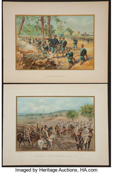 Three Chromolithographs Depicting U S  Army and Marines in   Lot
