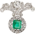 Estate Jewelry:Brooches - Pins, Emerald, Diamond, Platinum, White Gold Pendant-Brooch. ...