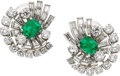 Estate Jewelry:Earrings, Emerald, Diamond, Platinum Earrings, Oscar Heyman . ...