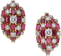 Estate Jewelry:Earrings, Ruby, Diamond, Platinum, Gold Earrings, Oscar Heyman. ... (Total: 2Items)