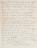 "Autographs:Celebrities, Julia Ward Howe Autograph Letter Signed ""Julia Ward Howe""...."
