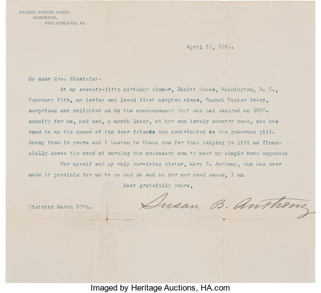 Susan B  Anthony Typed Letter Signed