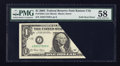 Error Notes:Foldovers, Fr. 1928-J $1 2003 Federal Reserve Note. PMG Choice About Unc 58.....