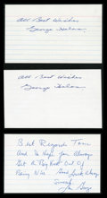 Football Collectibles:Others, George Halas and Lou Groza Signed Index Cards Lot of 3....