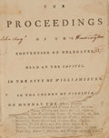 Books:Americana & American History, [John Augustine Washington]. The Proceedings of the Convention of Delegates, Held at the Capitol, In the City of William...