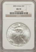 Modern Bullion Coins: , 2003 $1 Silver Eagle MS70 NGC. NGC Census: (0). PCGS Population(0). Numismedia Wsl. Price for problem free NGC/PCGS coin ...
