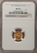 Commemorative Gold: , 1917 G$1 McKinley MS63 NGC. NGC Census: (219/858). PCGS Population(475/1759). Mintage: 10,000. Numismedia Wsl. Price for p...