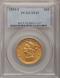 Liberty Eagles: , 1854-S $10 XF45 PCGS. PCGS Population (85/111). NGC Census:(91/261). Mintage: 123,826. Numismedia Wsl. Price for problem f...